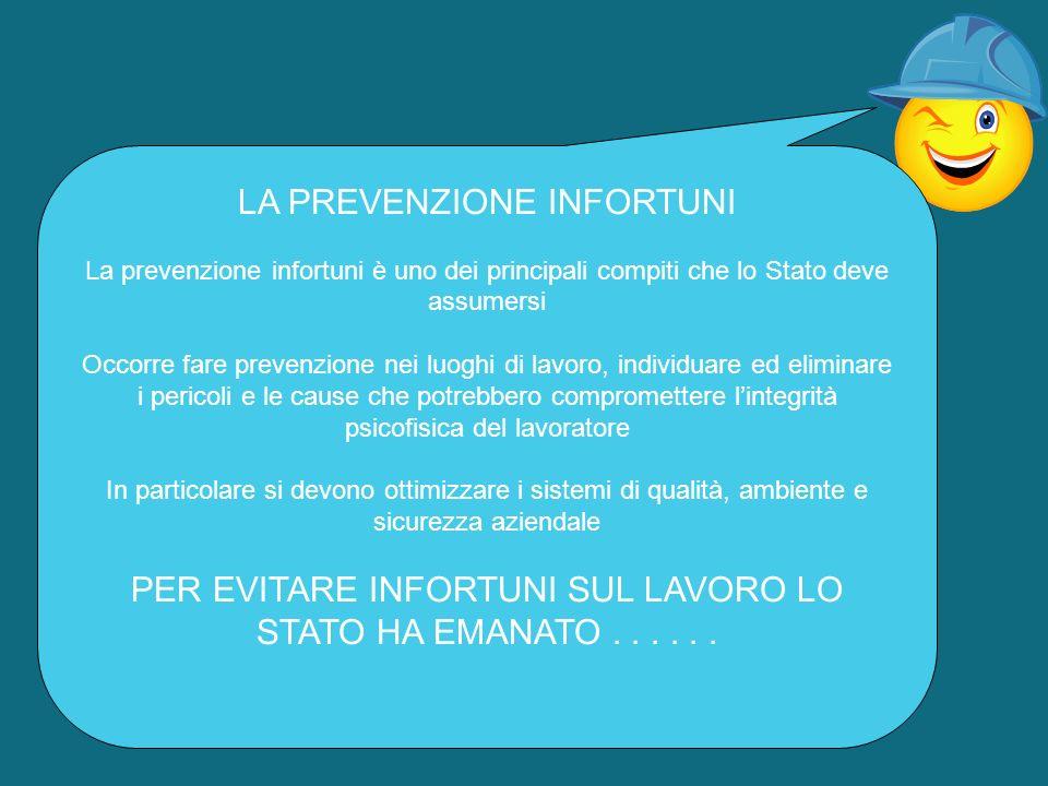 LA PREVENZIONE INFORTUNI La prevenzione infortuni è uno dei principali compiti che lo Stato deve assumersi Occorre fare prevenzione nei luoghi di lavo