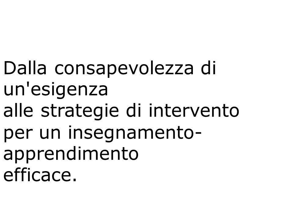 Dalla consapevolezza di un'esigenza alle strategie di intervento per un insegnamento- apprendimento efficace.
