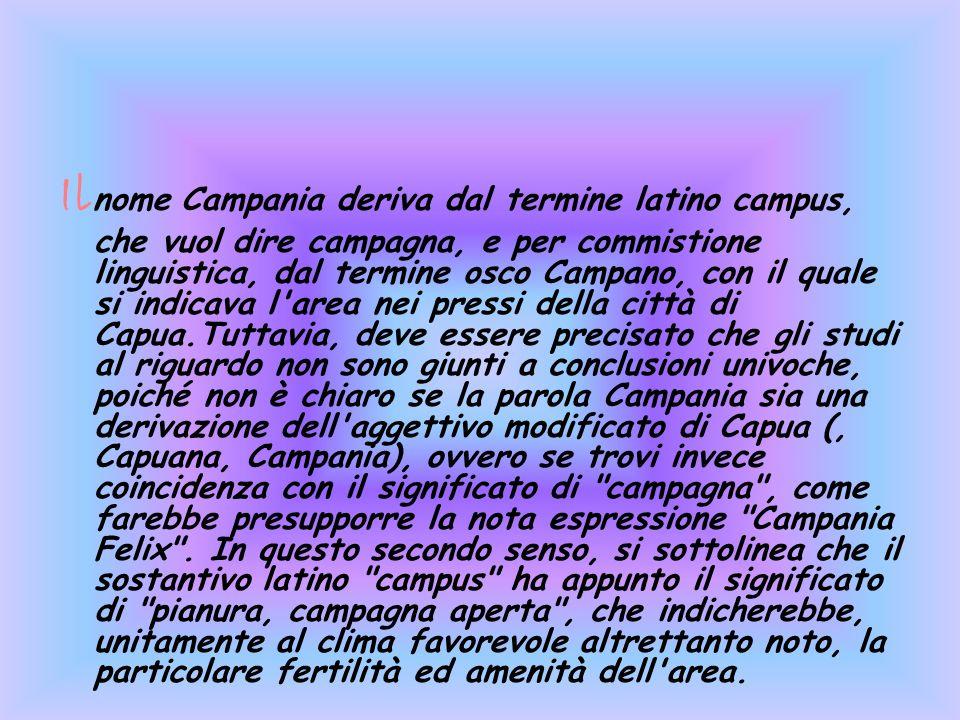 Il nome Campania deriva dal termine latino campus, che vuol dire campagna, e per commistione linguistica, dal termine osco Campano, con il quale si in