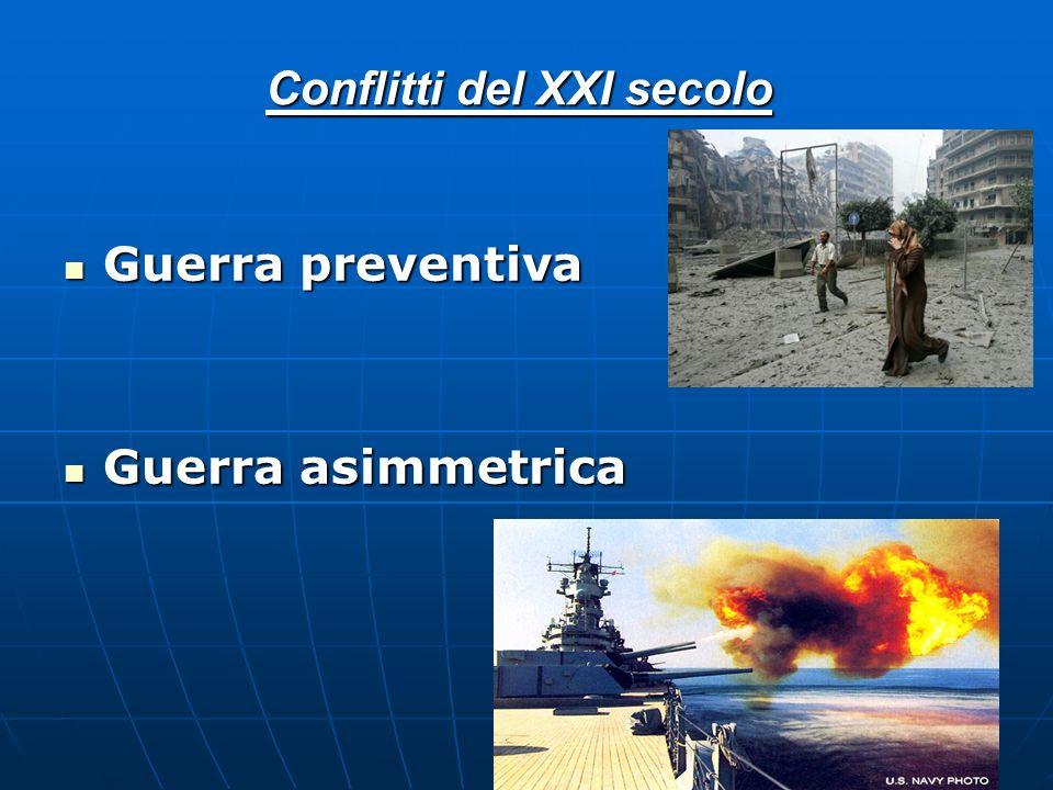 Conflitti del XXI secolo Guerra preventiva Guerra asimmetrica