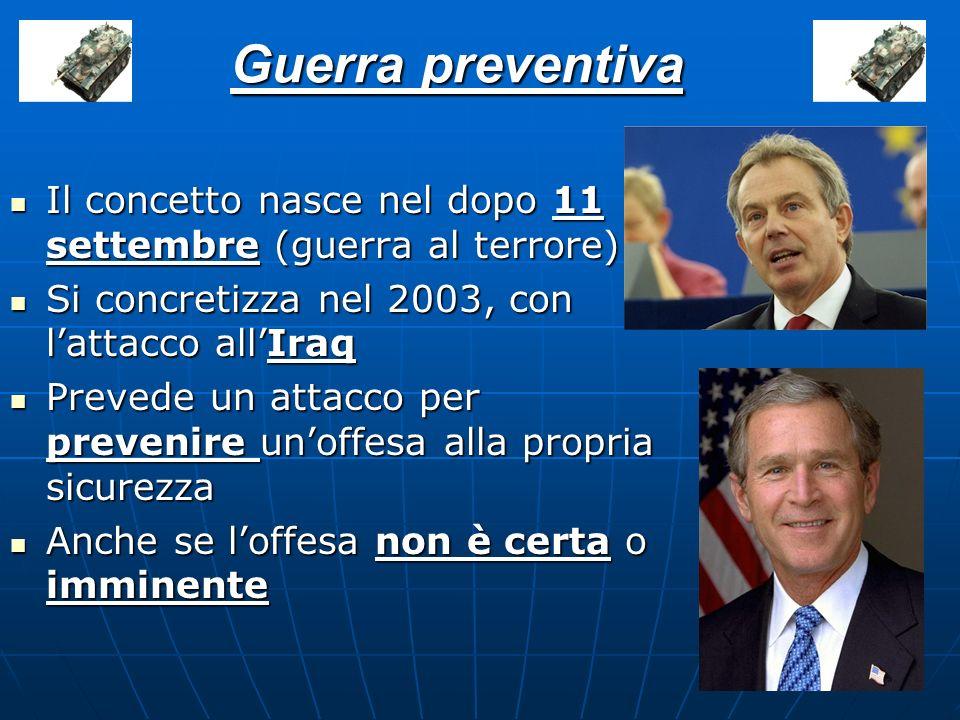 Guerra preventiva Il concetto nasce nel dopo 11 settembre (guerra al terrore) Si concretizza nel 2003, con lattacco allIraq Prevede un attacco per pre