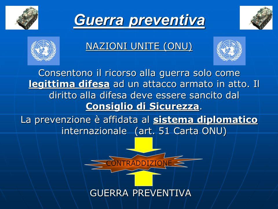 NAZIONI UNITE (ONU) Consentono il ricorso alla guerra solo come legittima difesa ad un attacco armato in atto. Il diritto alla difesa deve essere sanc