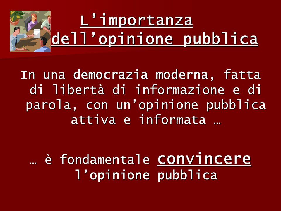 Limportanza dellopinione pubblica Limportanza dellopinione pubblica In una democrazia moderna, fatta di libertà di informazione e di parola, con unopi