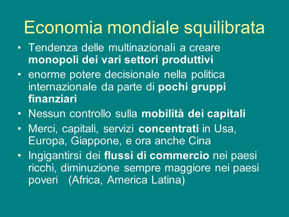 Economia mondiale squilibrata Tendenza delle multinazionali a creare monopoli dei vari settori produttivi enorme potere decisionale nella politica int