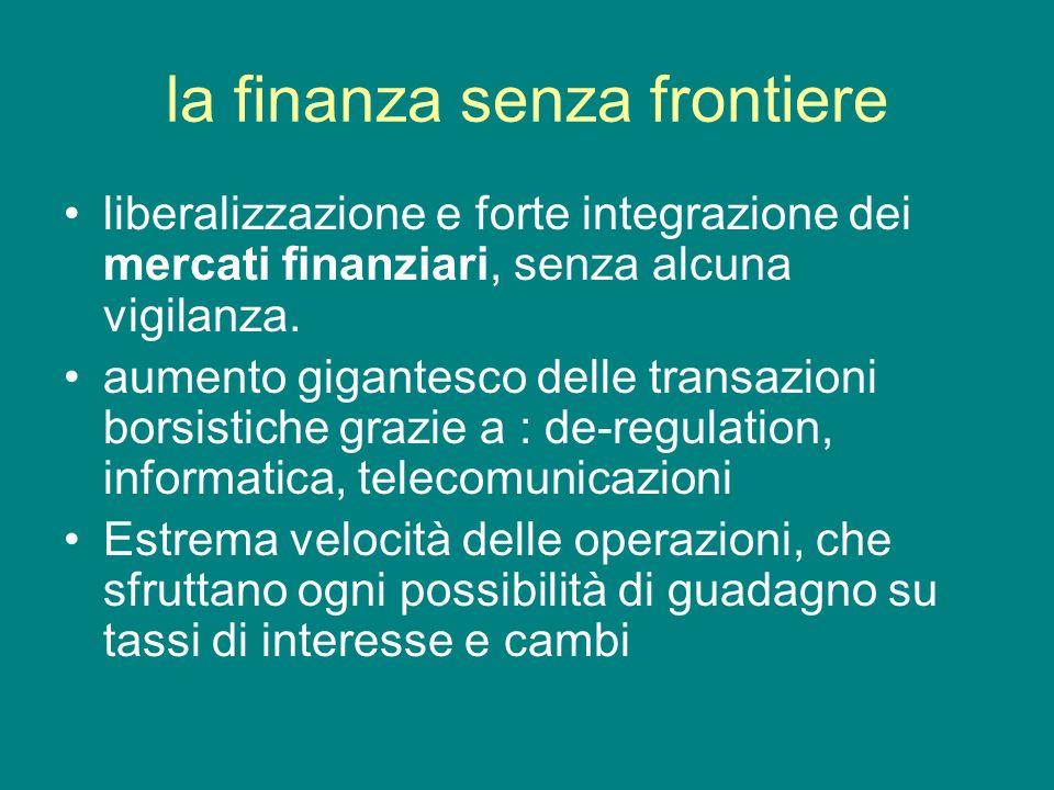 la finanza senza frontiere liberalizzazione e forte integrazione dei mercati finanziari, senza alcuna vigilanza. aumento gigantesco delle transazioni