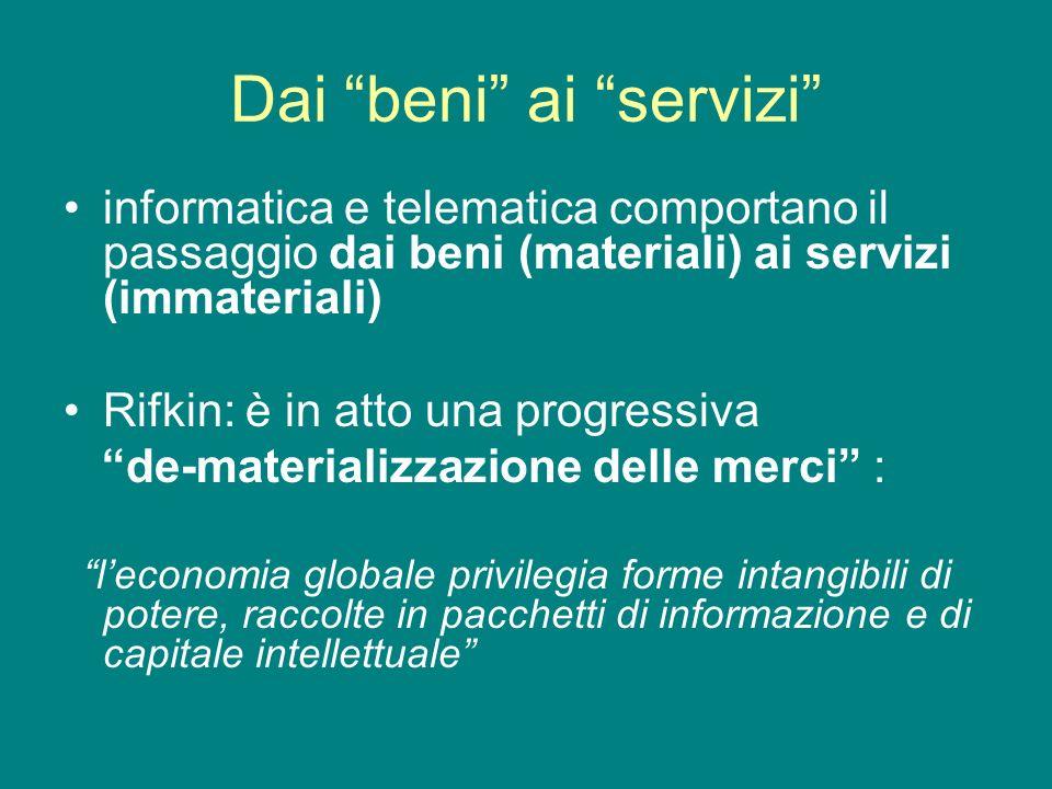Dai beni ai servizi informatica e telematica comportano il passaggio dai beni (materiali) ai servizi (immateriali) Rifkin: è in atto una progressiva d