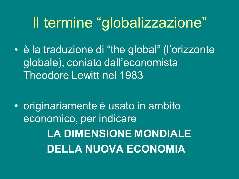 Il termine globalizzazione è la traduzione di the global (lorizzonte globale), coniato dalleconomista Theodore Lewitt nel 1983 originariamente è usato