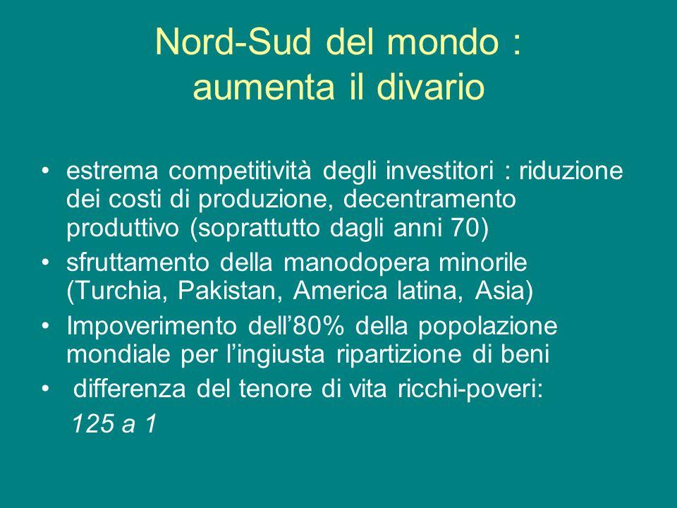 Nord-Sud del mondo : aumenta il divario estrema competitività degli investitori : riduzione dei costi di produzione, decentramento produttivo (sopratt