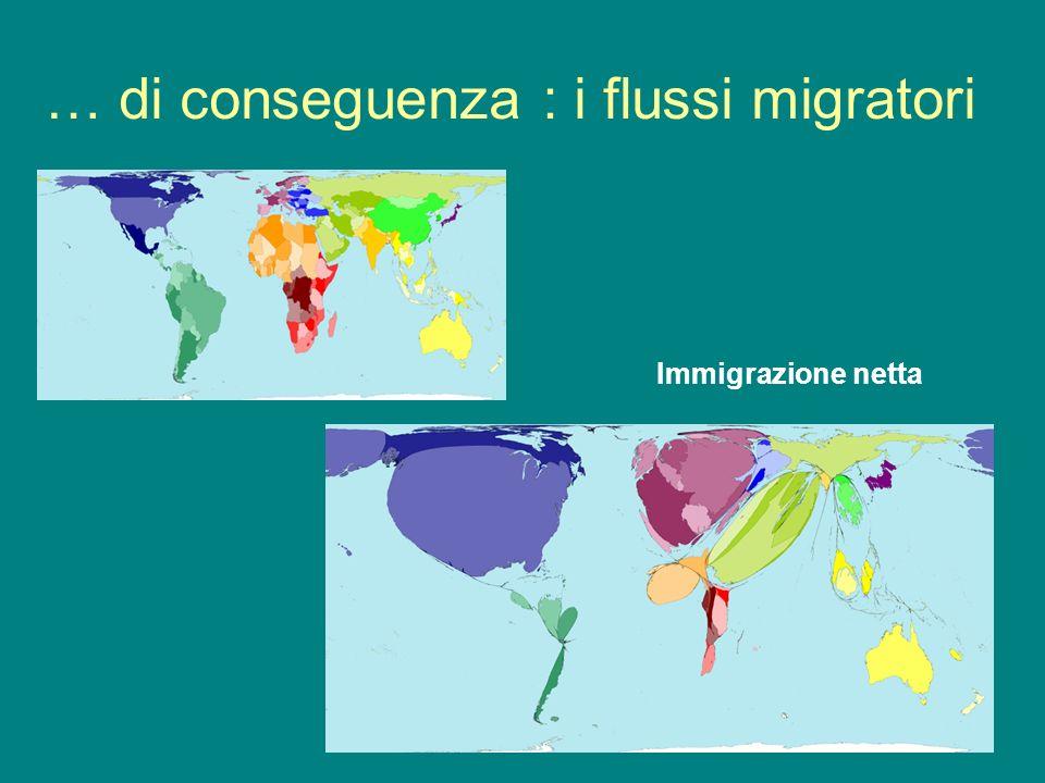 … di conseguenza : i flussi migratori Immigrazione netta