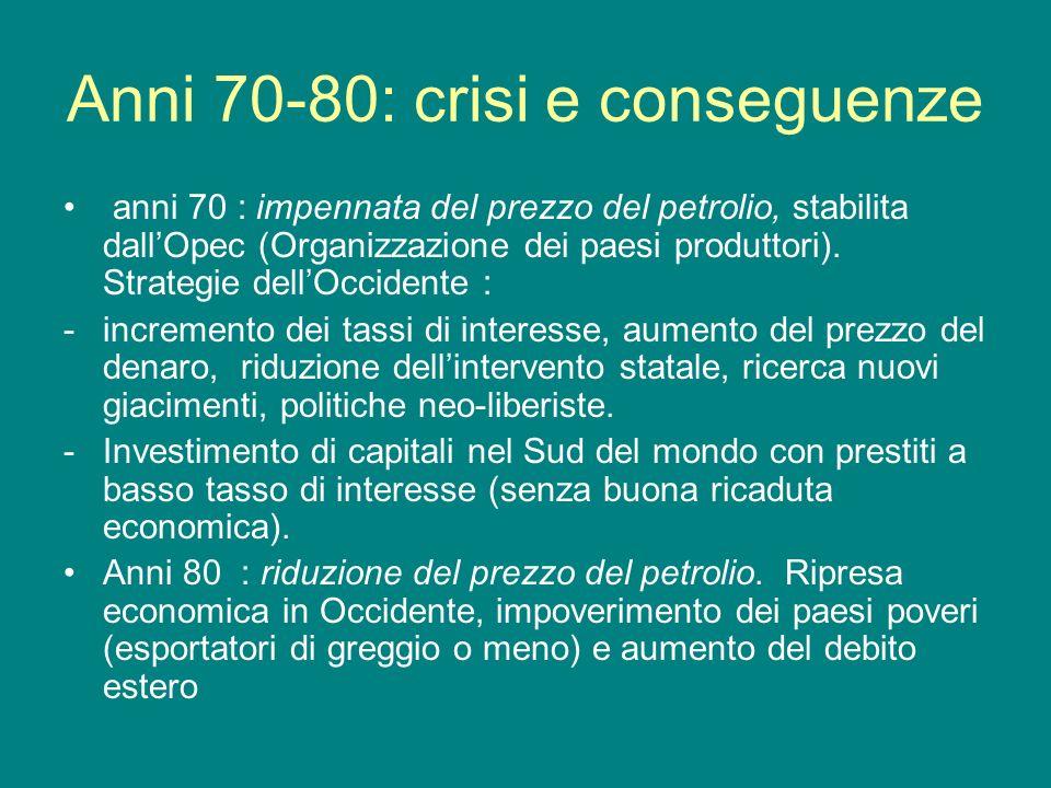 Anni 70-80: crisi e conseguenze anni 70 : impennata del prezzo del petrolio, stabilita dallOpec (Organizzazione dei paesi produttori). Strategie dellO