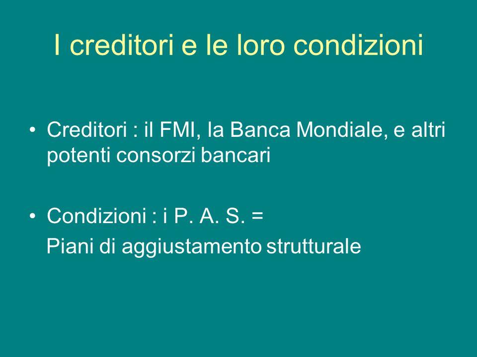 I creditori e le loro condizioni Creditori : il FMI, la Banca Mondiale, e altri potenti consorzi bancari Condizioni : i P. A. S. = Piani di aggiustame