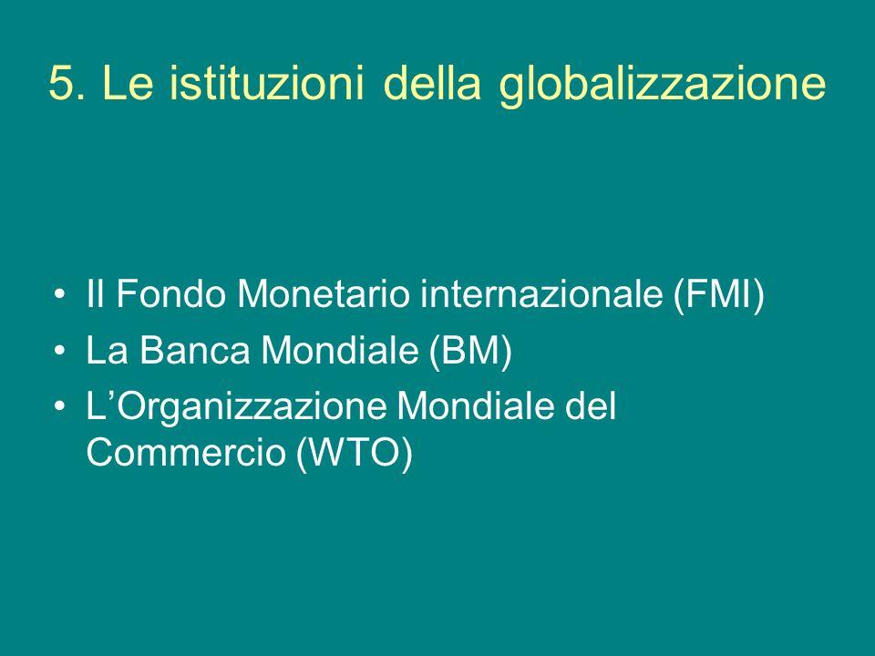 5. Le istituzioni della globalizzazione Il Fondo Monetario internazionale (FMI) La Banca Mondiale (BM) LOrganizzazione Mondiale del Commercio (WTO)