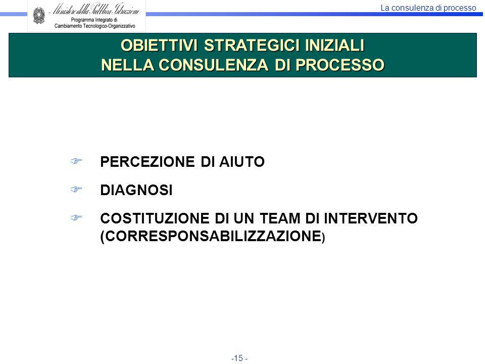 La consulenza di processo -15 - PERCEZIONE DI AIUTO DIAGNOSI COSTITUZIONE DI UN TEAM DI INTERVENTO (CORRESPONSABILIZZAZIONE ) OBIETTIVI STRATEGICI INI