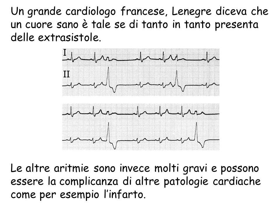 Un grande cardiologo francese, Lenegre diceva che un cuore sano è tale se di tanto in tanto presenta delle extrasistole. Le altre aritmie sono invece