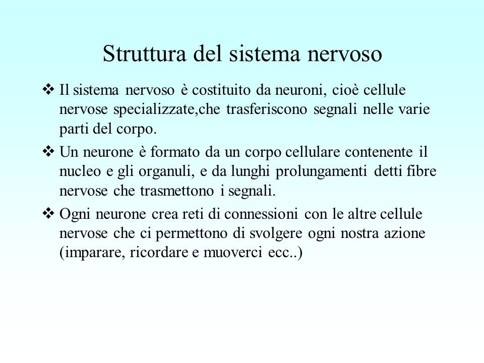 Struttura del sistema nervoso Il sistema nervoso è costituito da neuroni, cioè cellule nervose specializzate,che trasferiscono segnali nelle varie par