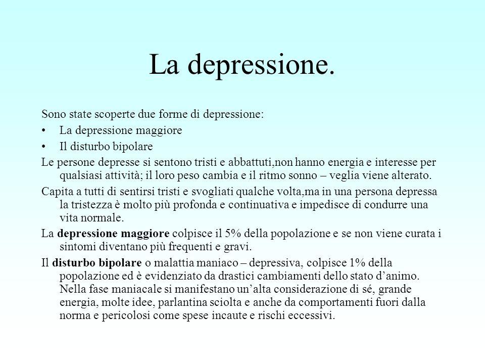 La depressione. Sono state scoperte due forme di depressione: La depressione maggiore Il disturbo bipolare Le persone depresse si sentono tristi e abb