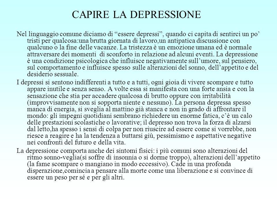 CAPIRE LA DEPRESSIONE Nel linguaggio comune diciamo di essere depressi, quando ci capita di sentirci un po tristi per qualcosa:una brutta giornata di