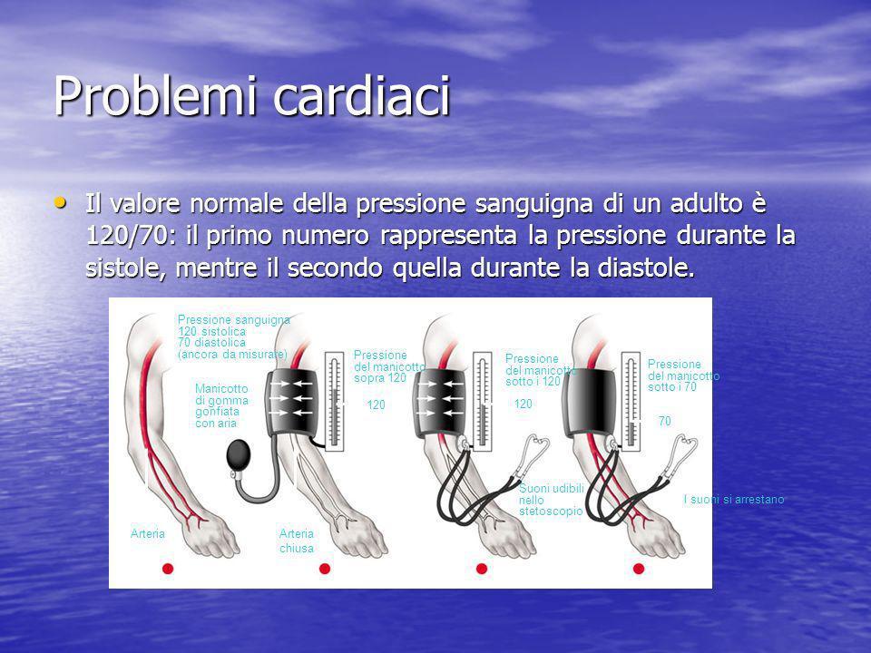 Problemi cardiaci Il valore normale della pressione sanguigna di un adulto è 120/70: il primo numero rappresenta la pressione durante la sistole, ment