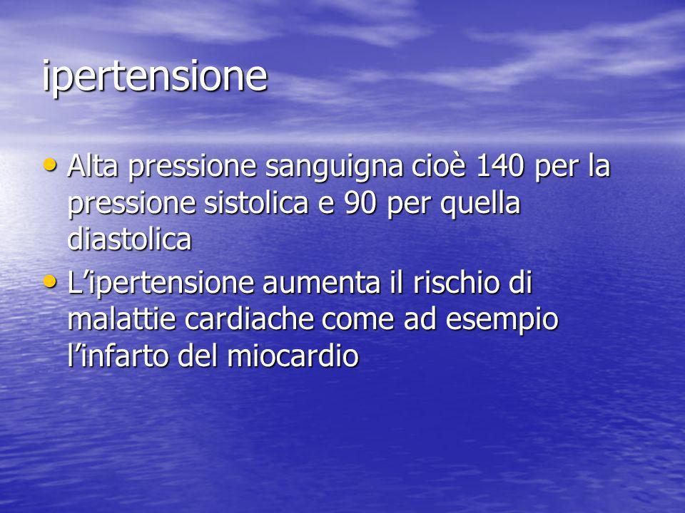 ipertensione Alta pressione sanguigna cioè 140 per la pressione sistolica e 90 per quella diastolica Alta pressione sanguigna cioè 140 per la pression