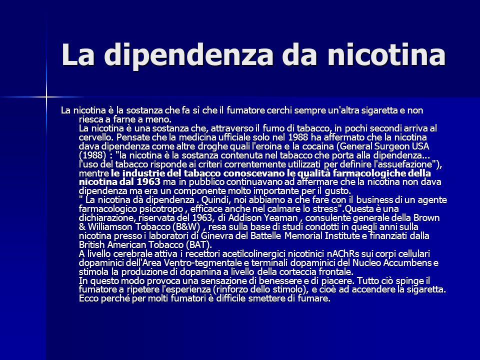 La dipendenza da nicotina La nicotina è la sostanza che fa sì che il fumatore cerchi sempre un altra sigaretta e non riesca a farne a meno.