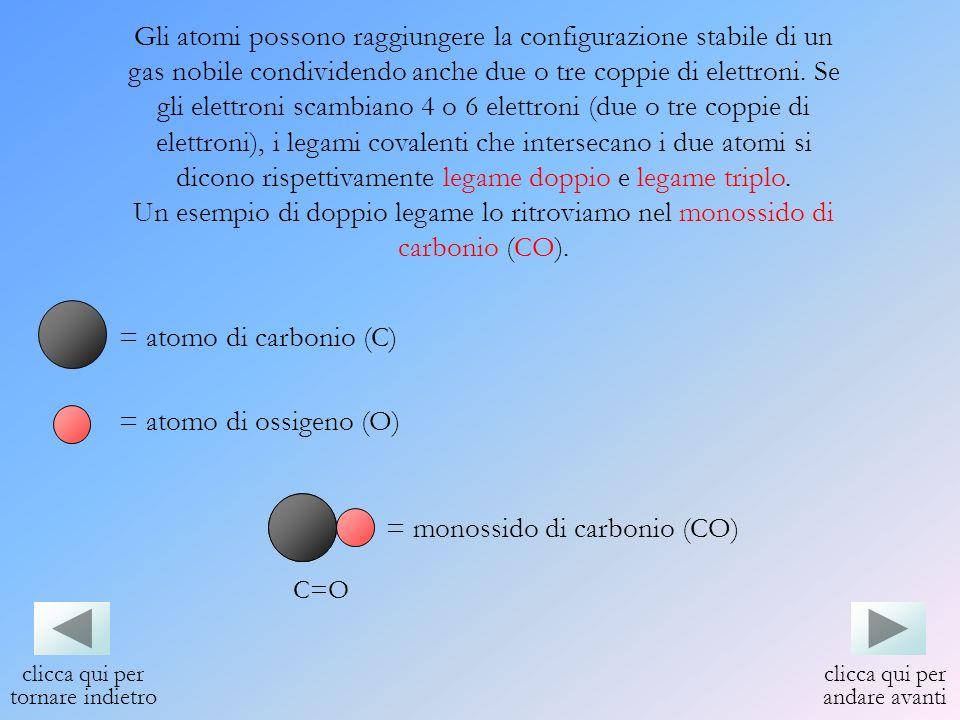 Gli atomi possono raggiungere la configurazione stabile di un gas nobile condividendo anche due o tre coppie di elettroni. Se gli elettroni scambiano