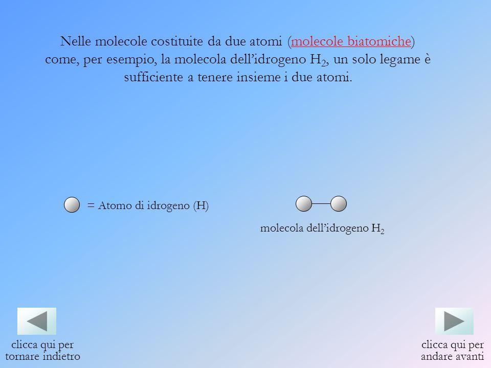 Nelle molecole costituite da due atomi (molecole biatomiche) come, per esempio, la molecola dellidrogeno H 2, un solo legame è sufficiente a tenere in