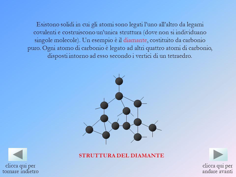 Esistono solidi in cui gli atomi sono legati luno allaltro da legami covalenti e costruiscono ununica struttura (dove non si individuano singole molec