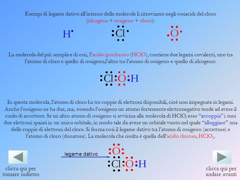 Esempi di legame dativo allinterno delle molecole li ritroviamo negli ossiacidi del cloro (idrogeno + ossigeno + cloro): La molecola del più semplice
