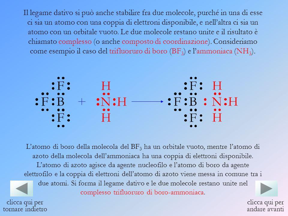 Il legame dativo si può anche stabilire fra due molecole, purché in una di esse ci sia un atomo con una coppia di elettroni disponibile, e nellaltra c
