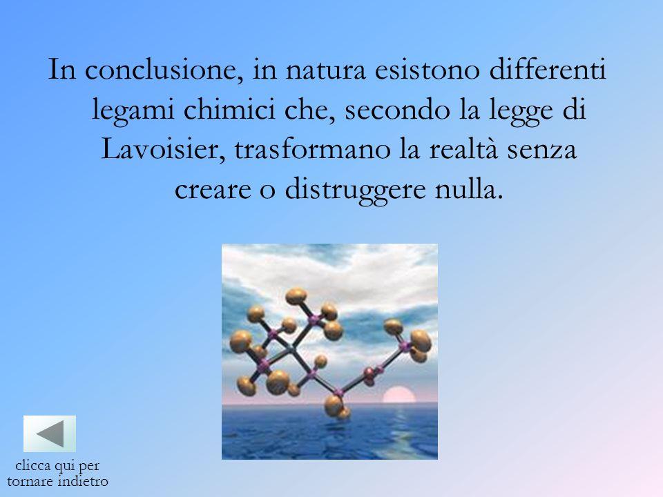 In conclusione, in natura esistono differenti legami chimici che, secondo la legge di Lavoisier, trasformano la realtà senza creare o distruggere null