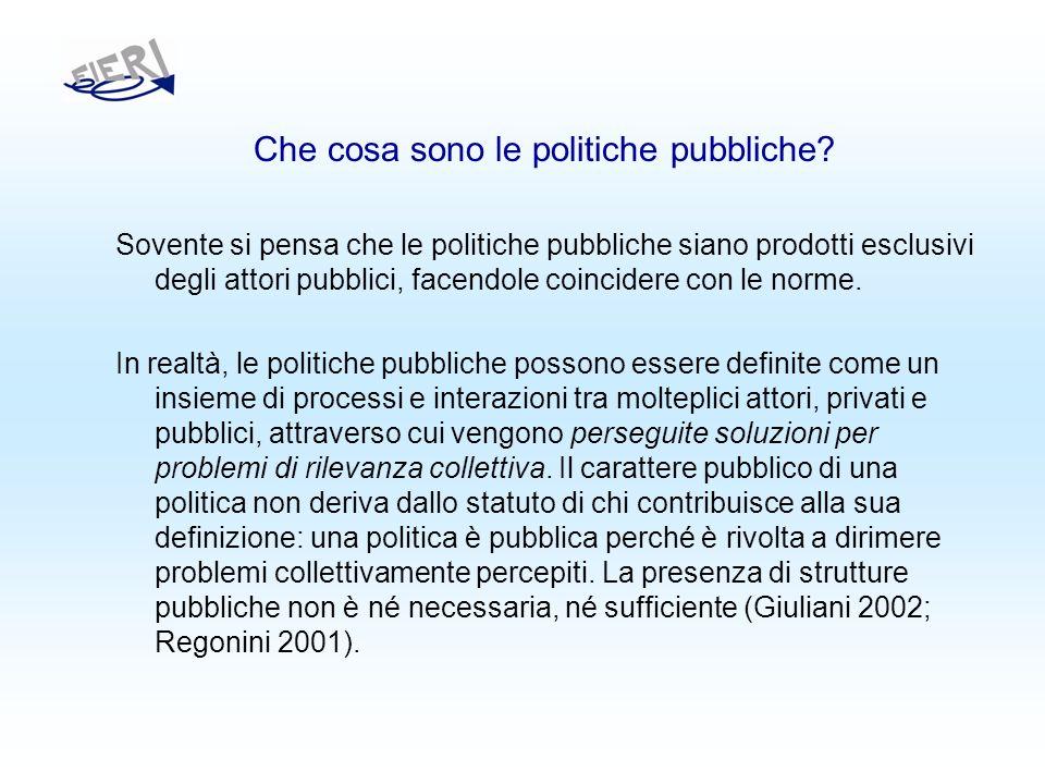 Che cosa sono le politiche pubbliche.