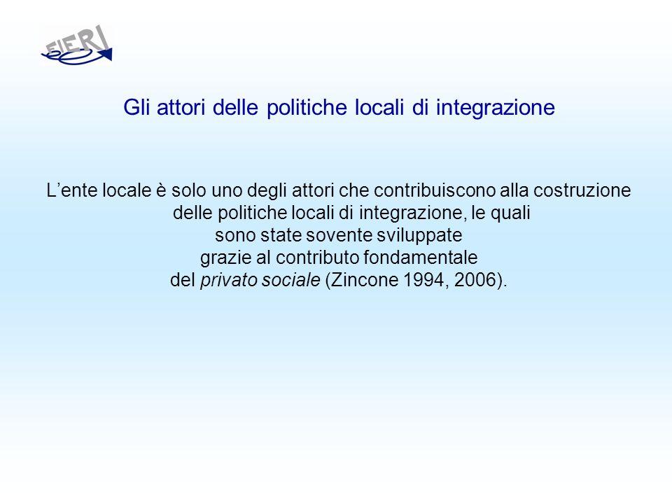 Gli attori delle politiche locali di integrazione Lente locale è solo uno degli attori che contribuiscono alla costruzione delle politiche locali di integrazione, le quali sono state sovente sviluppate grazie al contributo fondamentale del privato sociale (Zincone 1994, 2006).