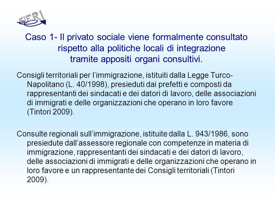 Caso 1- Il privato sociale viene formalmente consultato rispetto alla politiche locali di integrazione tramite appositi organi consultivi.