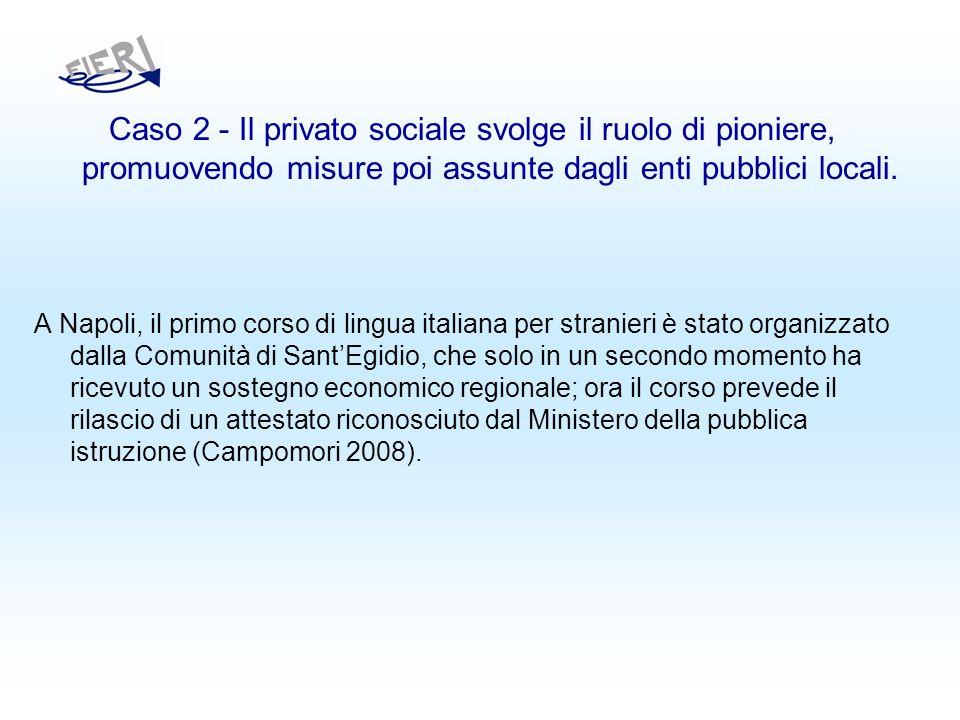 Caso 2 - Il privato sociale svolge il ruolo di pioniere, promuovendo misure poi assunte dagli enti pubblici locali.