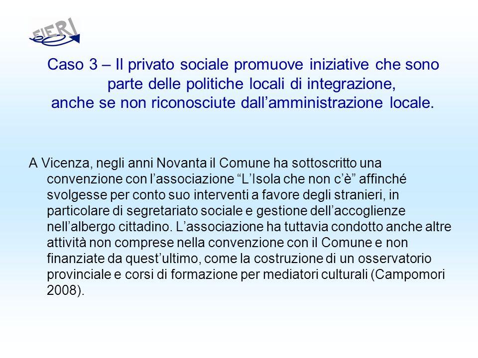 Caso 3 – Il privato sociale promuove iniziative che sono parte delle politiche locali di integrazione, anche se non riconosciute dallamministrazione locale.