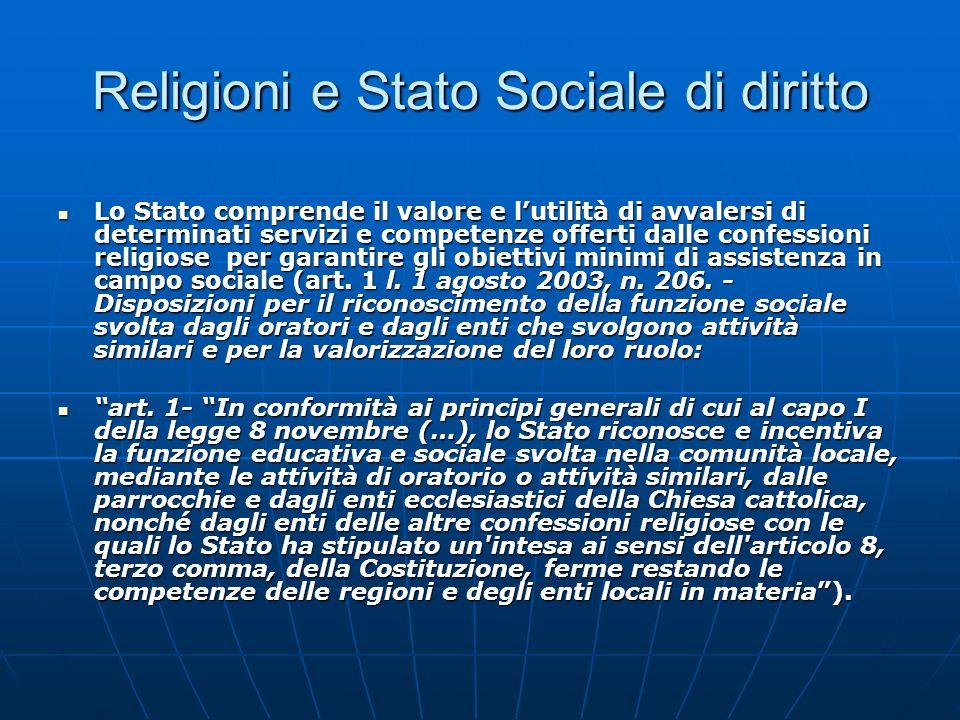 Religioni e Stato Sociale di diritto Lo Stato comprende il valore e lutilità di avvalersi di determinati servizi e competenze offerti dalle confession