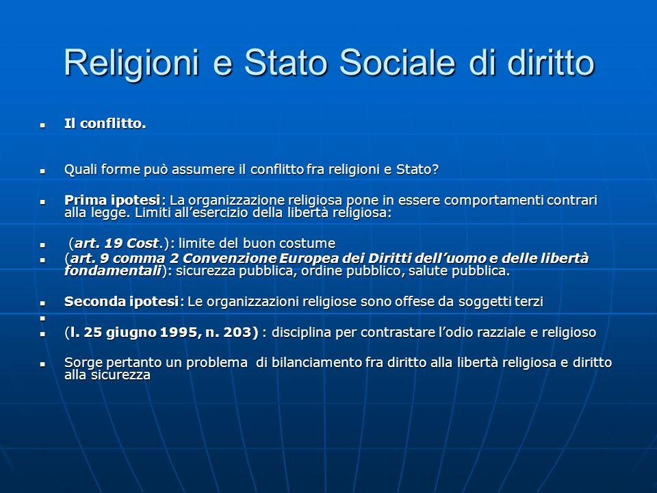 Religioni e Stato Sociale di diritto Il conflitto. Il conflitto. Quali forme può assumere il conflitto fra religioni e Stato? Quali forme può assumere