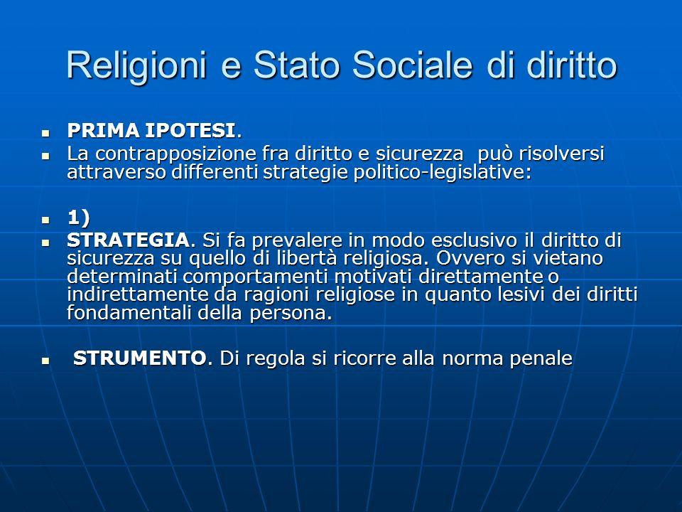 Religioni e Stato Sociale di diritto PRIMA IPOTESI. PRIMA IPOTESI. La contrapposizione fra diritto e sicurezza può risolversi attraverso differenti st