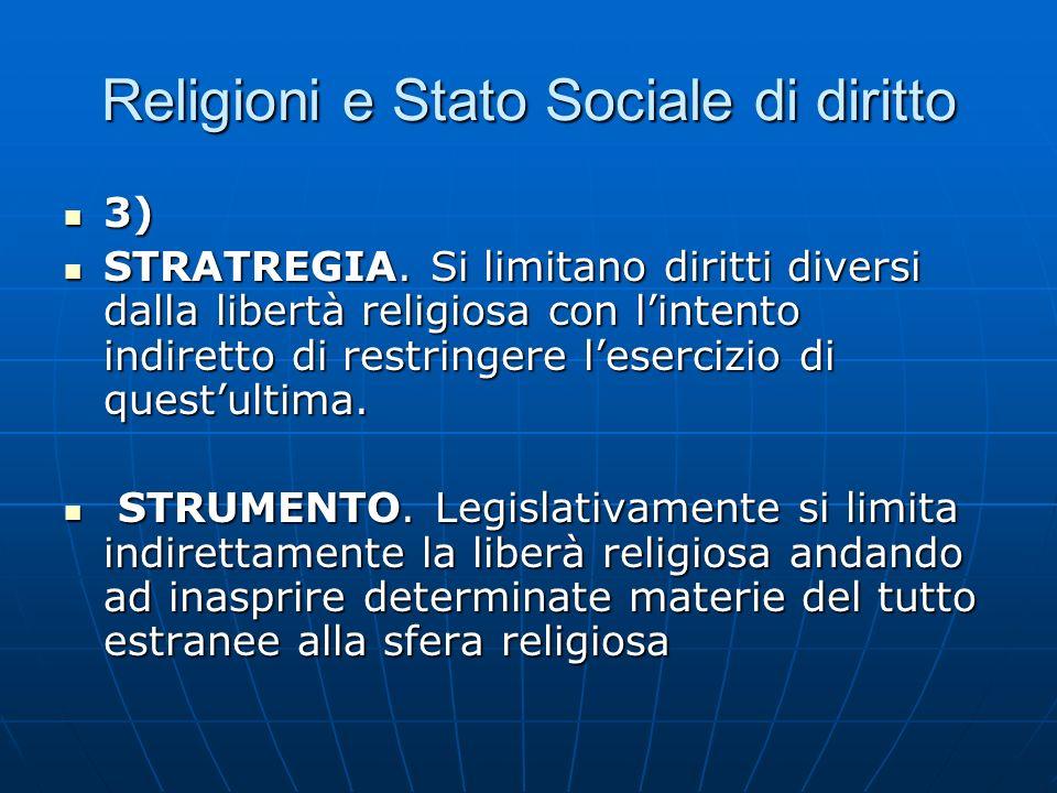 Religioni e Stato Sociale di diritto 3) 3) STRATREGIA. Si limitano diritti diversi dalla libertà religiosa con lintento indiretto di restringere leser