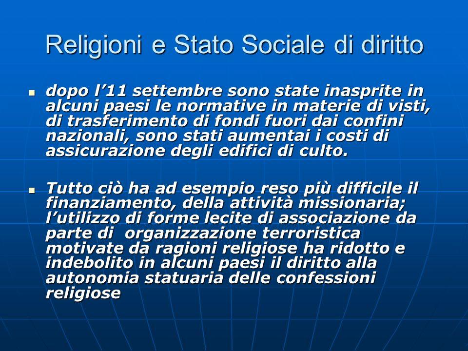 Religioni e Stato Sociale di diritto dopo l11 settembre sono state inasprite in alcuni paesi le normative in materie di visti, di trasferimento di fon
