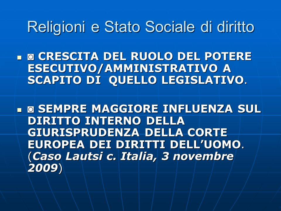 Religioni e Stato Sociale di diritto La religione allinterno di tale contesto istituzionale che ruolo gioca.