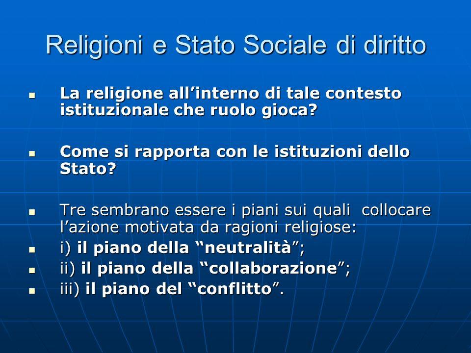 Religioni e Stato Sociale di diritto La religione allinterno di tale contesto istituzionale che ruolo gioca? La religione allinterno di tale contesto