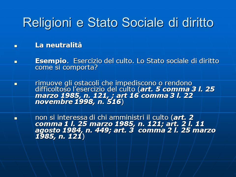 Religioni e Stato Sociale di diritto La neutralità La neutralità Esempio. Esercizio del culto. Lo Stato sociale di diritto come si comporta? Esempio.