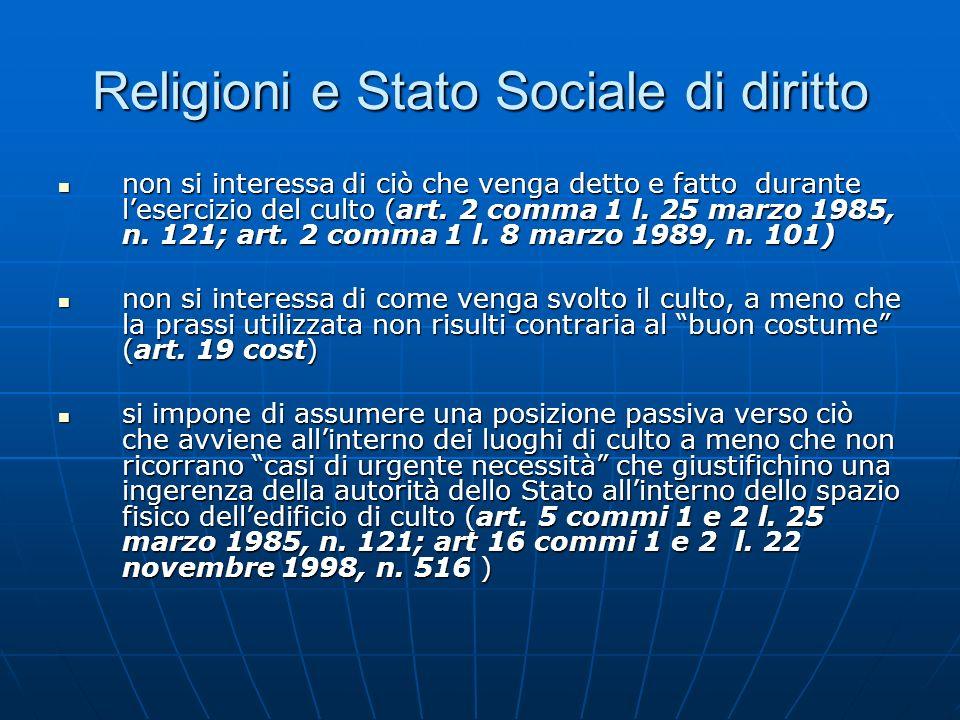 Religioni e Stato Sociale di diritto non si interessa di ciò che venga detto e fatto durante lesercizio del culto (art. 2 comma 1 l. 25 marzo 1985, n.