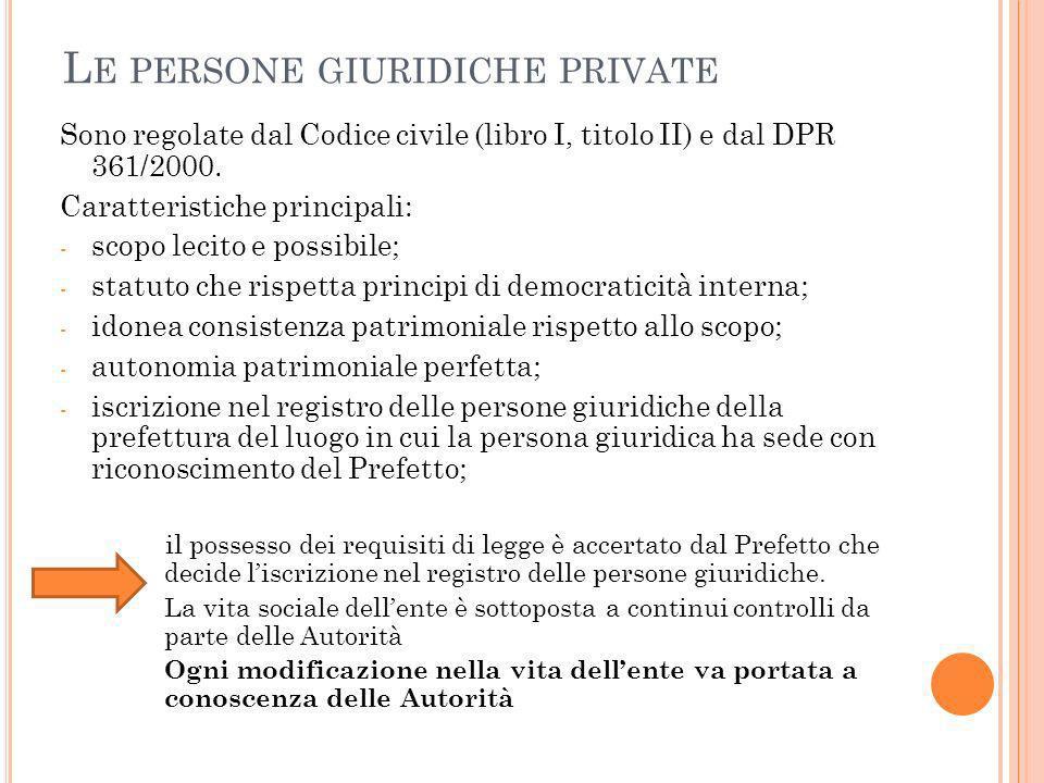 L E PERSONE GIURIDICHE PRIVATE Sono regolate dal Codice civile (libro I, titolo II) e dal DPR 361/2000.