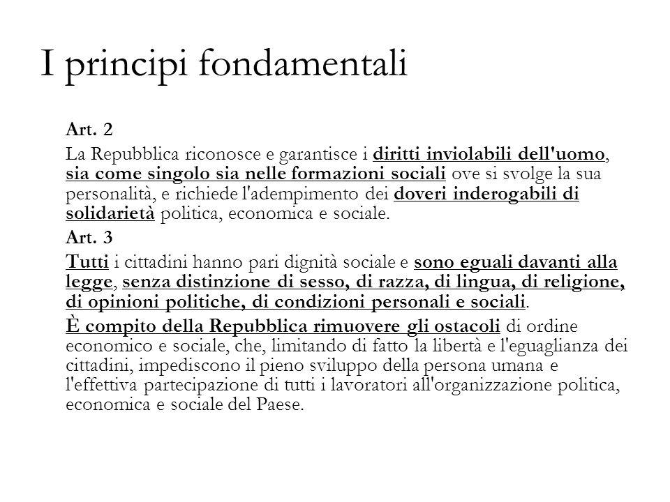 I principi fondamentali Art.