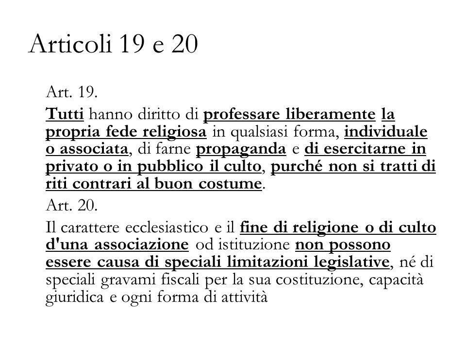 Articoli 19 e 20 Art.19.