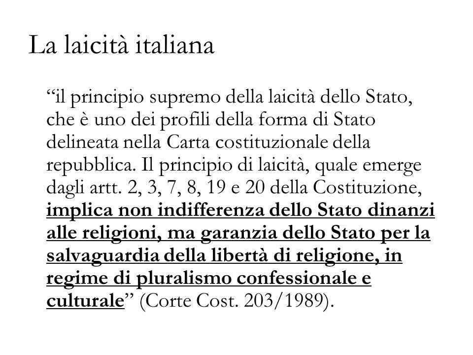 La laicità italiana il principio supremo della laicità dello Stato, che è uno dei profili della forma di Stato delineata nella Carta costituzionale della repubblica.