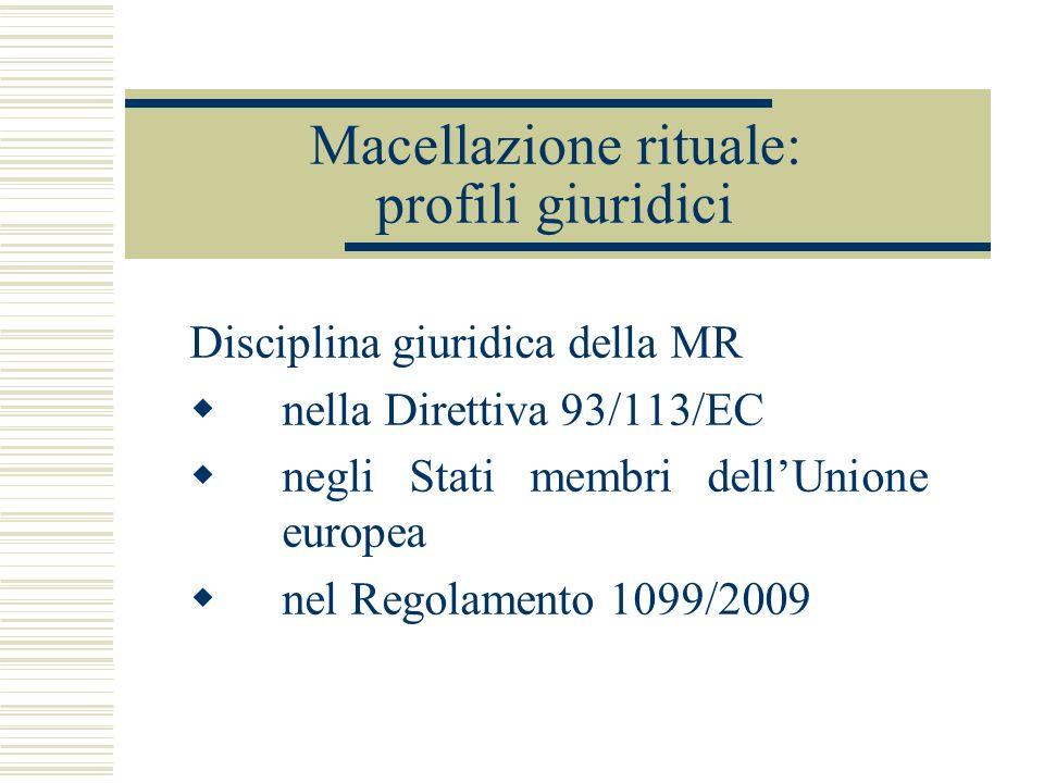 Macellazione rituale: profili giuridici Disciplina giuridica della MR nella Direttiva 93/113/EC negli Stati membri dellUnione europea nel Regolamento 1099/2009