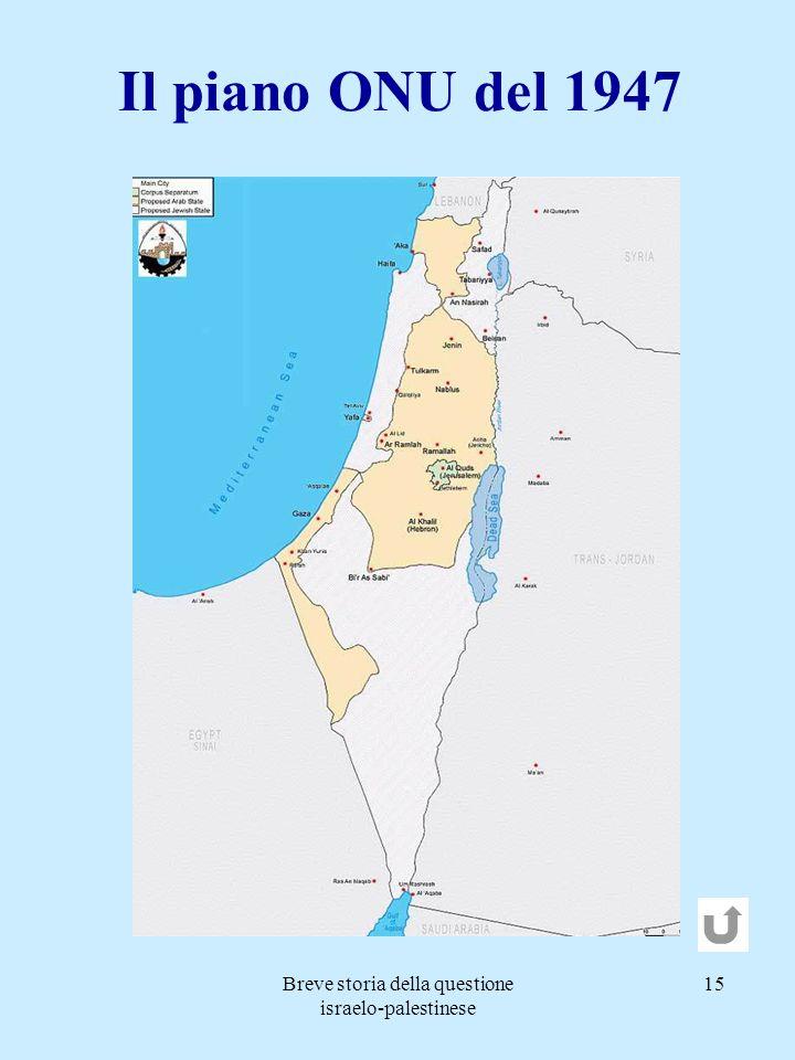 Breve storia della questione israelo-palestinese 15 Il piano ONU del 1947